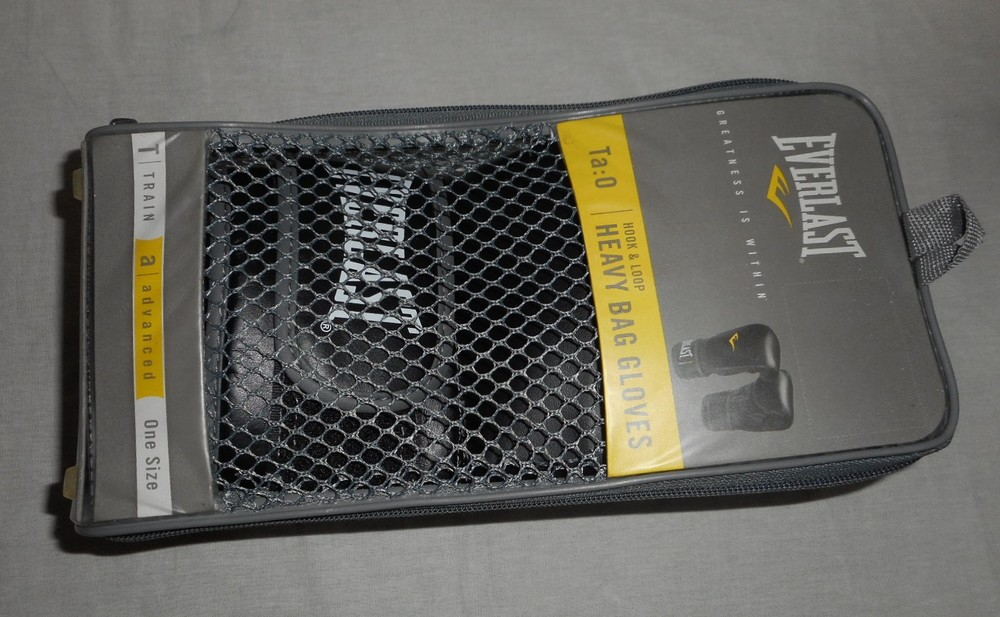 Перчатки боксёрские everlast снарядные heavy bag gloves lxl черный фото №1