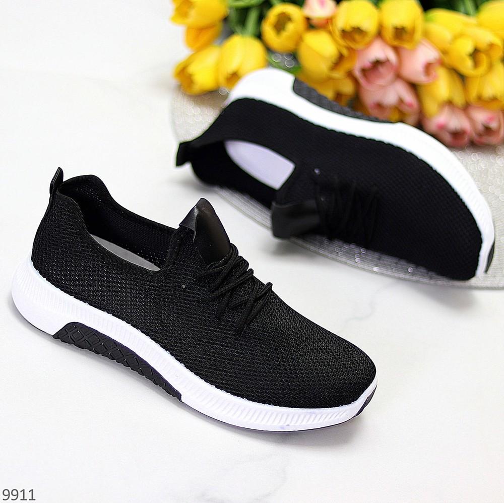 Молодежные черно - белые текстильные дышащие женские кроссовки весна 2021 фото №1