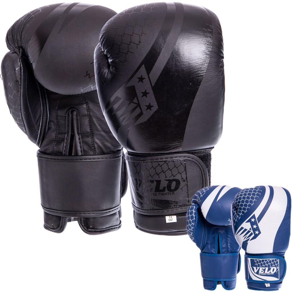 Перчатки боксерские кожаные на липучке velo 2224: 10-14 унций (2 цвета) фото №1