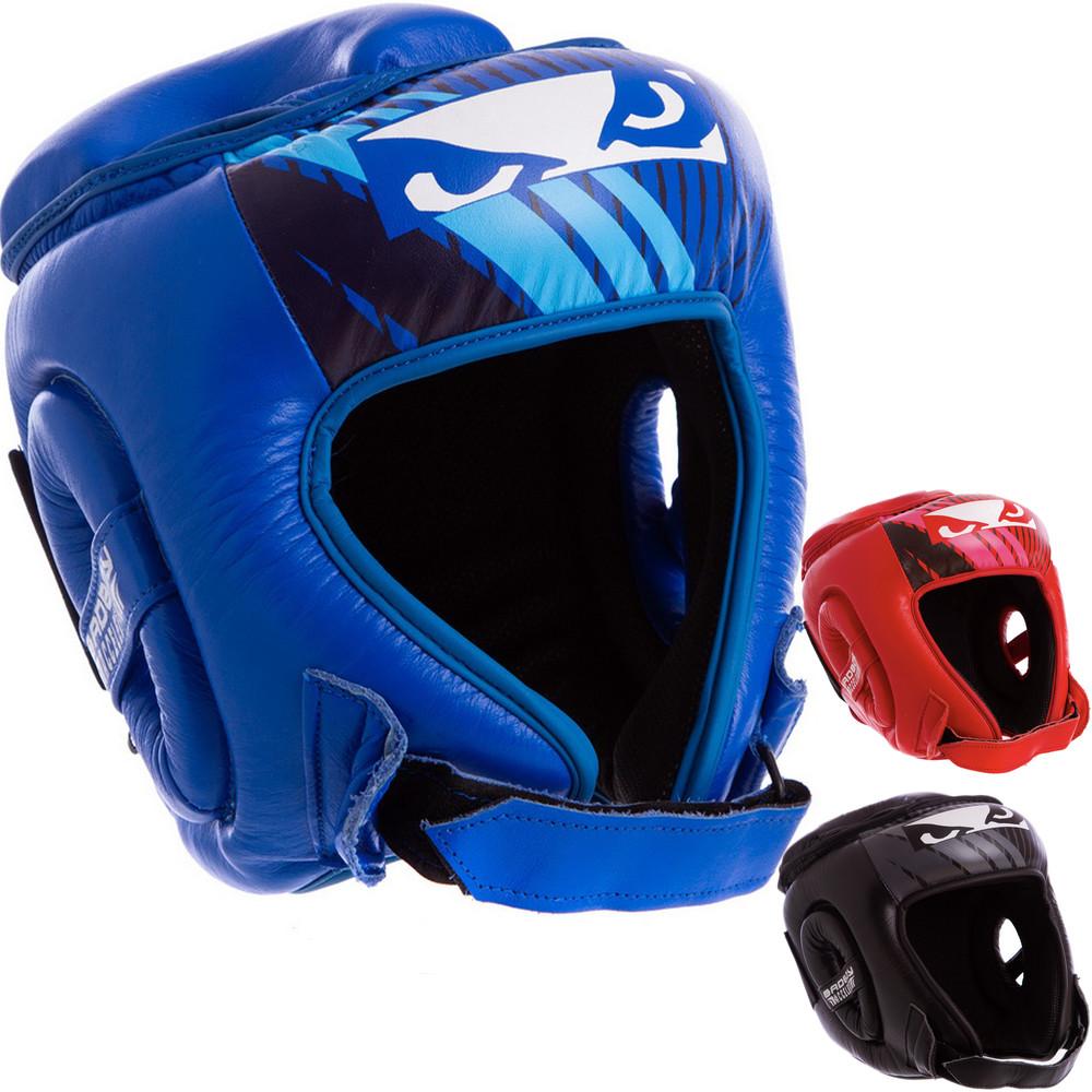 Шлем боксерский открытый с усиленной защитой макушки кожаный bad boy bd09: размер s-xl фото №1