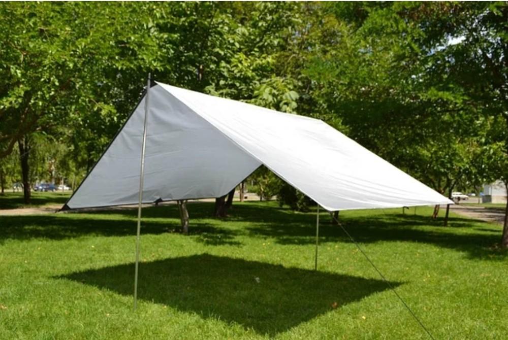 Белый тент,палатка, навес , брезент с кольцами-люверсами фото №1