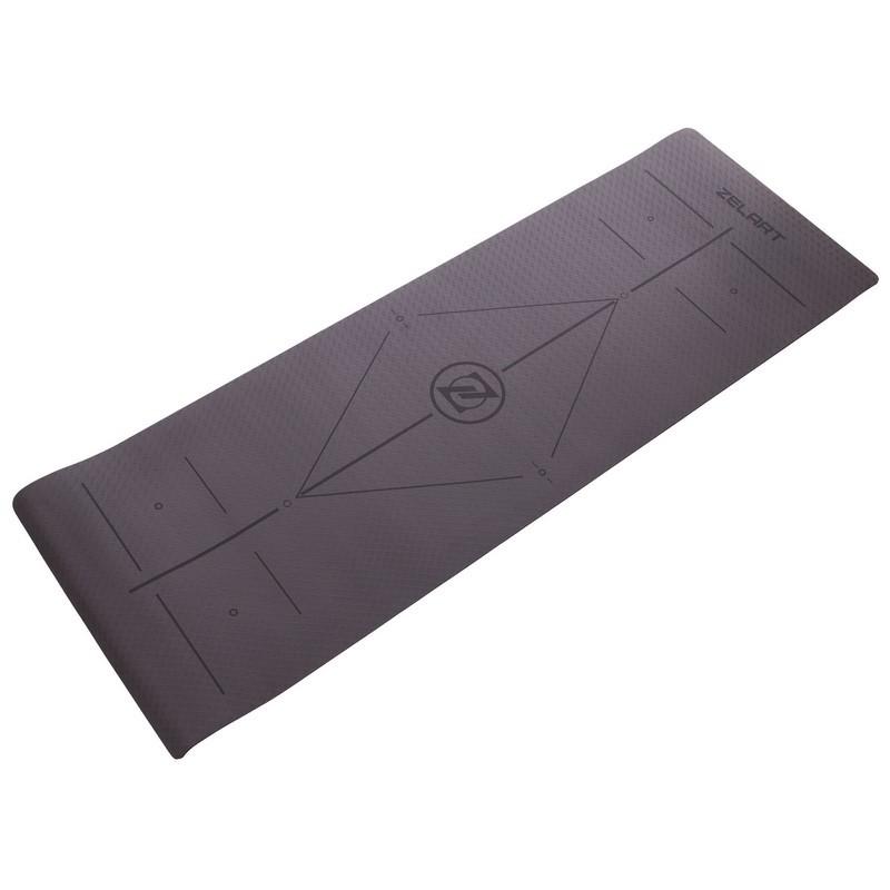 Коврик для фитнеса и йоги двухслойный с разметкой modern 2579: размер 1,83х0,61м (толщина 6мм) фото №1