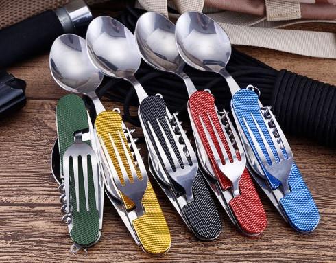 Туристический набор(вилка-ложка-нож-штопор-открывашка) фото №1