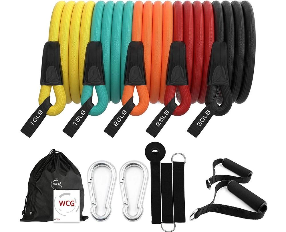 Эспандеры для фитнеса набор 5 штук, сумочка в комплекте фото №1